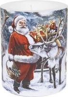 Dekorkerze - Santa with Reindeer 99 mm