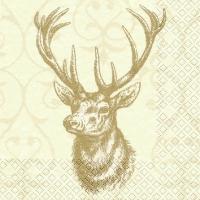 Servietten 25x25 cm - Hirsch creme/gold