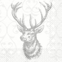 Servietten 25x25 cm - Hirsch grau/silber