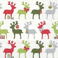 Servietten 25x25 cm - Reindeer rot/grn
