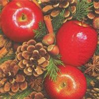 Servietten 25x25 cm - Äpfel mit Nüssen