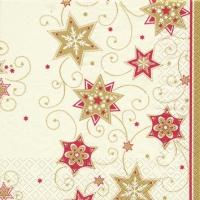 Servietten 25x25 cm - Stars & Swirls gold