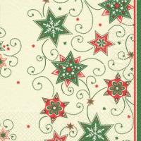 Servietten 25x25 cm - Sterne & Wirbel grün