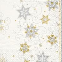 Servietten 25x25 cm - Stars & Swirls silver