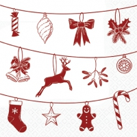 Servietten 25x25 cm - Xmas Symbols white/red