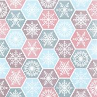 Servietten 25x25 cm - Schneeflocken-Kamm pastellfarben