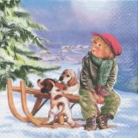 Servietten 33x33 cm - Max mit seinen Hunden