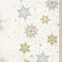 Servietten 33x33 cm - Stars & Swirls silver