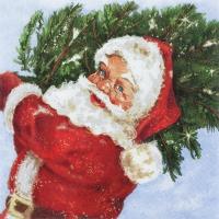 Servietten 33x33 cm - Weihnachtsmann mit seinem Baum