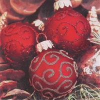 Servietten 33x33 cm - Edle Weihnachtskugeln