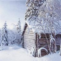 Servietten 33x33 cm - Winterhütte