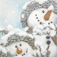 Servietten 33x33 cm - Gemütliche Schneemänner