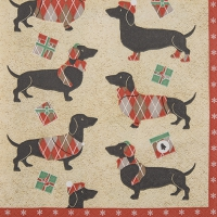 Servietten 33x33 cm - Winter Dachshund