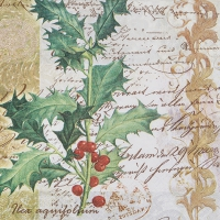 Servietten 33x33 cm - Ilex with Script