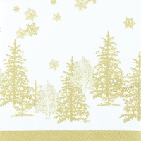 Servietten 33x33 cm - Tree and Snowflakes gold