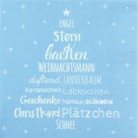 Servietten 33x33 cm - Weihnachtszeit pastell blau