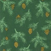Servietten 33x33 cm - Pine Cones green