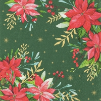 Servietten 33x33 cm - Traditional Poinsettia