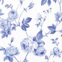 Servietten 25x25 cm - RAMBLING ROSE white blue