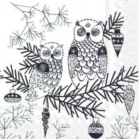 Servietten 25x25 cm - OWL ORNAMENT weiß schwarz schwarz
