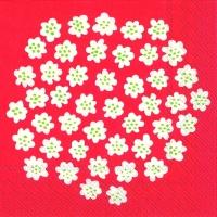 Servietten 25x25 cm - PUKETTI weiß rot rot
