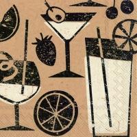 Cocktail Servietten brown paper cocktail