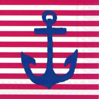 Servietten 25x25 cm - YACHT CLUB ANCHOR red