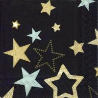 Servietten 25x25 cm - SPARKLING STARS schwarz