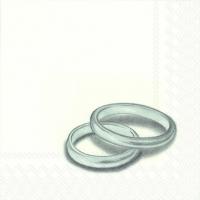 Servietten 25x25 cm - RINGS silver
