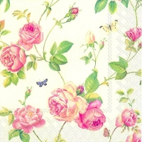 Servietten 25x25 cm - NEW RAMBLING ROSE cream