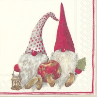 Servietten 25x25 cm - FRIENDLY TOMTE red