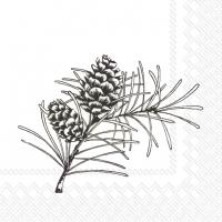 Servietten 25x25 cm - PINE BRANCHES weiß schwarz