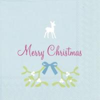 Servietten 25x25 cm - SWEET MERRY CHRISTMAS li. blue