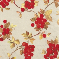 Servietten 25x25 cm - RED BERRIES linen