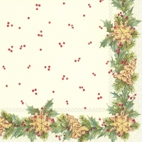 Cocktail Servietten CHRISTMAS GARLAND cream