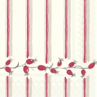 Cocktail Servietten BERRY STRIPE red