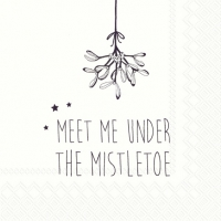 Servietten 25x25 cm - UNDER THE MISTLETOE wh. black