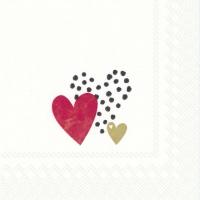 Servietten 25x25 cm - LOVE YOU gold red