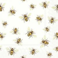 Servietten 25x25 cm - SAVE THE BEES! white