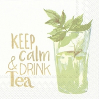Servietten 25x25 cm - KEEP CALM & DRINK TEE weiß