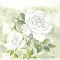 Servietten 25x25 cm - ROSE BOUTIQUE weiß