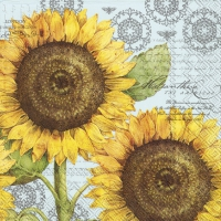 Servietten 25x25 cm - BOTANICAL SUNFLOWER light blue