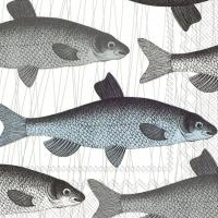 Servietten 25x25 cm - Fischteller blau