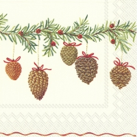 Servietten 25x25 cm - CHARMING GARLAND cream
