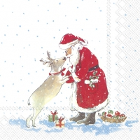 Servietten 25x25 cm - SANTAS BEST FRIEND white