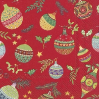 Servietten 25x25 cm - PRETTY GLOBES red