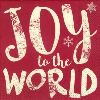 Servietten 25x25 cm - JOY TO THE WORLD red