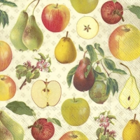 Servietten 25x25 cm - APPLE AND PEAR cream