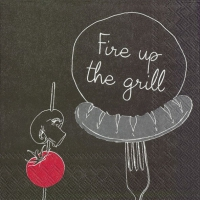Servietten 25x25 cm - FIRE UP THE GRILL red
