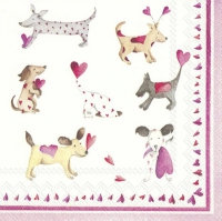Servietten 25x25 cm - LOVE HEART DOGS